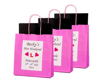 Personalised Pink Hen Party Gift Bag- Empty x1