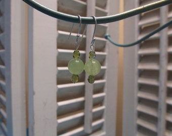 Handmade Peridot and Jade on Sterling Silver Earrings
