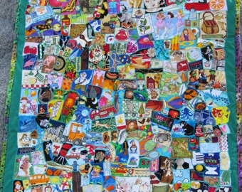 "Q1 Handmade Childrens Green ""Quite A Lot To Find"" I SPY quilt"