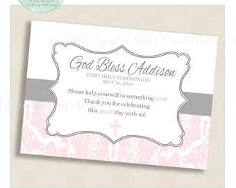 THANK YOU SIGN. Printable pdf files. Color and size of choice. Addision Collection. Silver & Pink. Baptism Christening Holy Communion