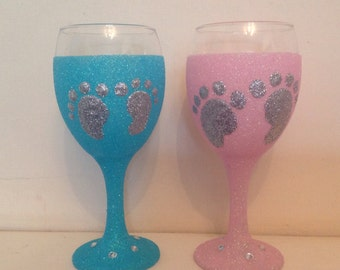 New baby glitter wine glass