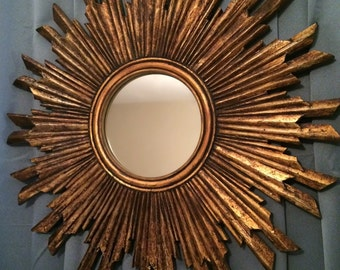 French Gilded Sunburst Mirror Hand-Carved Solid Wood 24""