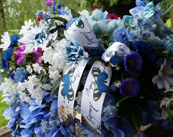 Blue floral cemetary headstone saddle