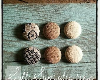 Burlap & lace 3-part set fabric button earrings