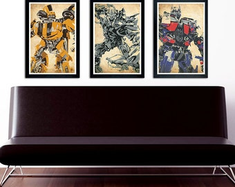 Transformers Poster Set of 3 – wall decor  11 x 17 Optimus Prime Bumblebee Megatron