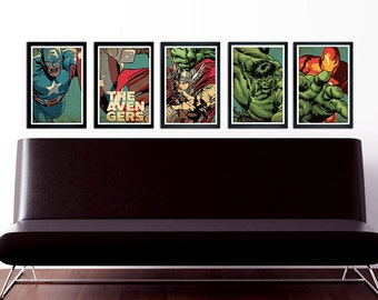 The Avengers Poster Set of 5 – wall decor 11 x 17 Hulk Thor Captain America Ironman