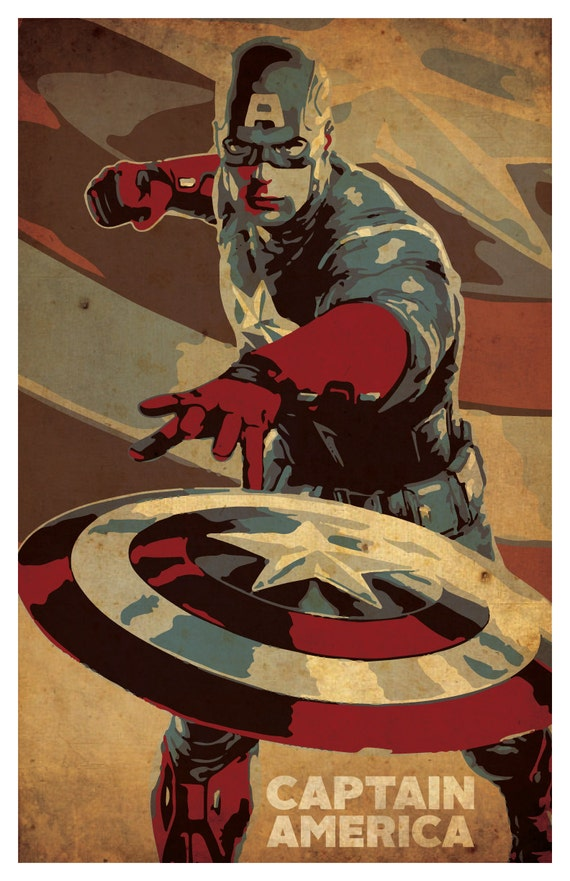 Items similar to captain america poster 11x 17 wall Captain america wall decor