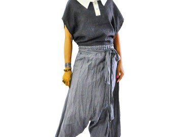 Gray boho loose pants/Cotton 100% casual pants/Yoga pants/Woman maxi pants/Cotton jumpsuit pants/Handmade extravagant oversized pants/P1386