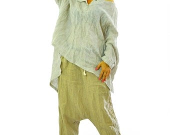 Beige loose tunic/Oversized 100% linen top/Casual woman shirt/Linen maxi beige Blouse/Maternity linen extravagant tunic/XXL/XXXL/Summer top