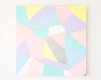 Original abstract painting,contemporay pastel coloured geometric abstract painting in acrylic on stretched canvas,unframed
