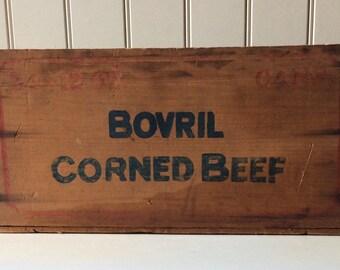 Vintage  1900's, Bovril Corned Beef Wooden Crate/ Argentina/Corned Beef Crate/Collectible Wooden Crates/Vintage Wooden Crate/Wooden Crates