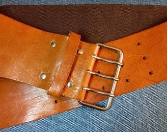 Vintage H&M Belt Natural Leather and Elastic Bright Brown Boho Women Belt Made in Sweden