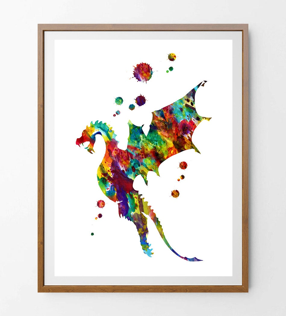 Dragon Watercolor Print Wall Art Gift Home Decor No By