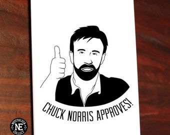 Chuck Approves! Thumbs Up Good Job Card Greetings Card - Congratulations Card 5 X 7 Inches