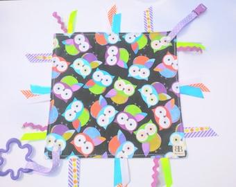 Taggie Blanket /Baby Blanket/ Sensory Blanket/ Ribbon Blanket/ Owl baby Blanket