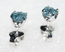 1.05TCW natural Greenish Blue raw diamond rough diamond uncut diamond earring 925 silver Stud Earring- free shipping! conflict free diamond!