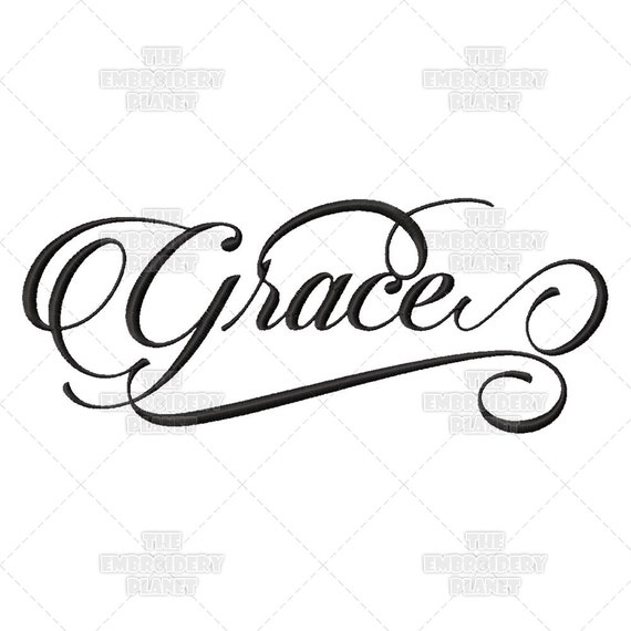 Grace calligraphy script quote saying by theembroideryplanet
