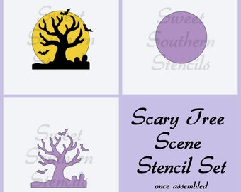Scary Tree Scene 2 Piece Cookie Stencil Set