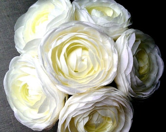 Ranunculus Bouquet in White, Ivory Bridal Bouquet, Ranunculus For Wedding or Home Decor, Ivory Ranunculus, Bridesmaid Bouquet
