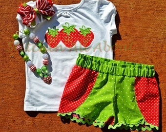 Toddler Girls- Girls Personalized Custom Botique Monogrammed Tripple Strawberry Shirt- Boutique Shorts size 6m, 12m, 18m, 2t, 3t, 4, 5, 6, 8