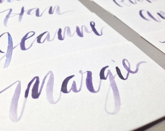 Custom Hand Lettered Watercolor Calligraphy Place Cards {choose a color}