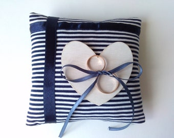 Nautical ring bearer pillow, handmade weddings, white and blue ring bearer pillow
