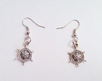 Ship's Wheel Earrings - Nautical Jewelry - Mariner's Earrings
