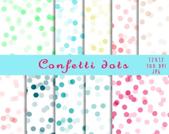 Confetti dots, digital paper set, backgrounds, for personal and commercial use