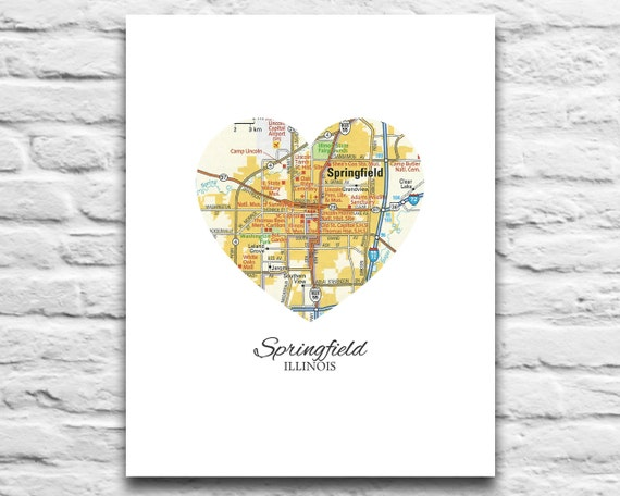 Vintage Travel Poster Texas Home Decor 11x14 A179: Springfield Illinois Home Map Print Vintage Heart Map DIGITAL