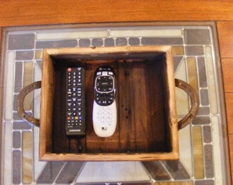 Rustic barnwood tray with horseshoe handles from reclaimed metal horse shoes
