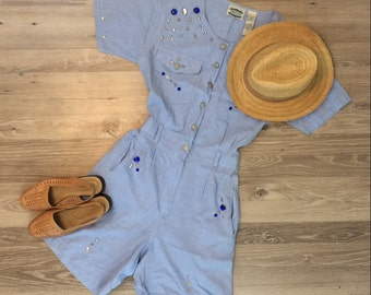 80's shorts romper with bedazzled accents, one piece outfit
