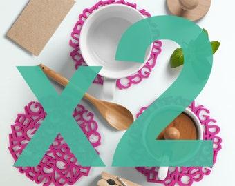 2 x Felt coaster set-scrambled letter@discounted price