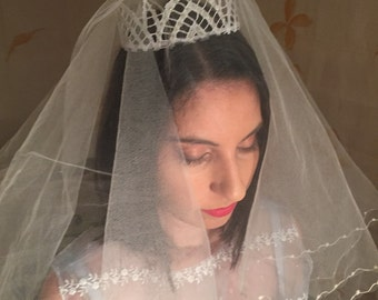 Bridal tiara crown headpiece made from 1920s lace and beaded