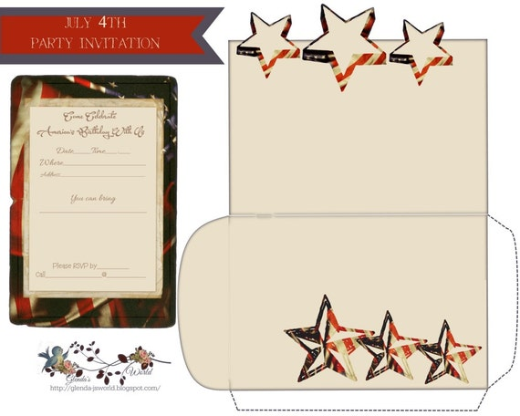July 4th Party Invitation and Envelope