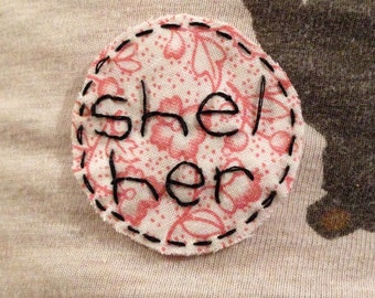 floral she/her patch