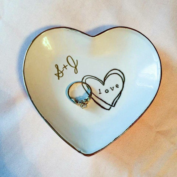 Sale gold love heart shaped jewelry ring dish by for Heart shaped jewelry dish