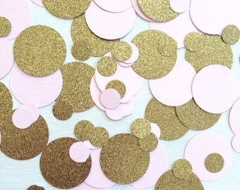 1,000 Pink & Gold Confetti | Circle Confetti | Bridal Shower | Table Decor | Wedding | Baby Shower | Large Confetti | Gold