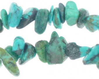 Wire chips beads natural turquoise - necklace 42cm