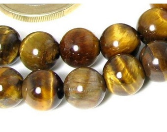 38 beads wire round 10mm 10 mm Brown Tiger eye