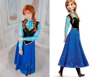 Anna Elza Frozen Disney Cosplay Dress Costume Princess Adult
