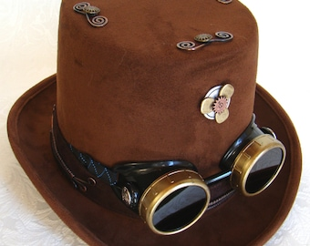 Brown Coachman's Top Hat with Goggles & Steampunk Concho
