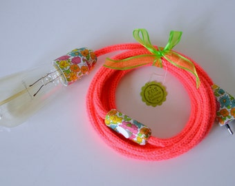 lamp lamp in knitting pink fluo and Liberty Poppy and Daisy, light, lighting, portable lamp, knitting mill