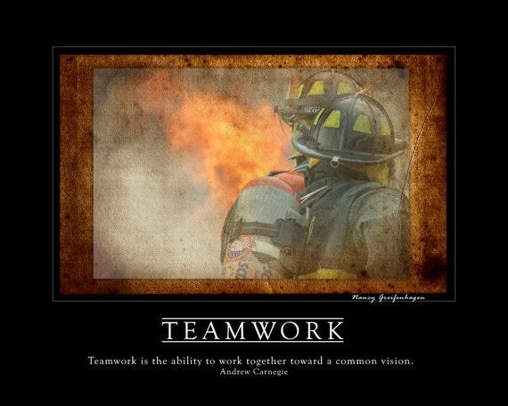 Teamwork Firefighter Inspirational Fine Art Print artwork home