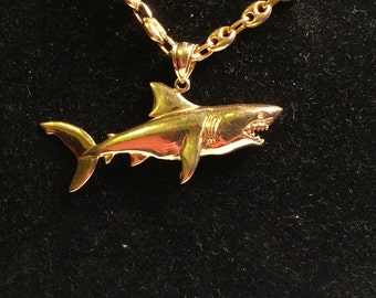 14k yellow gold 3-D great white shark necklace