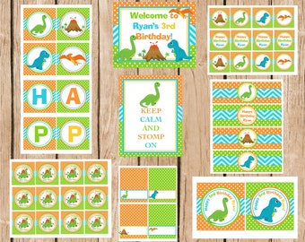 Dino Boy Birthday Party Package, DIY, Printable