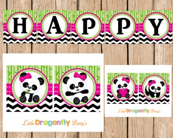 Panda Happy Birthday Instant Download Banner, DIY