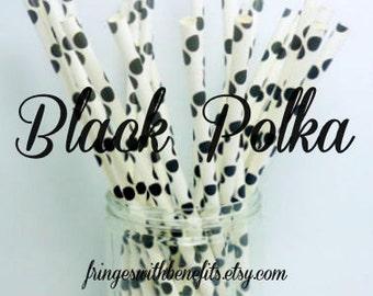 Black Polka Dot Paper Straws / Party Straws / Party Decore / Polka Dot Straws / Paper Party Straws / Black White Straws / Drinking Straws