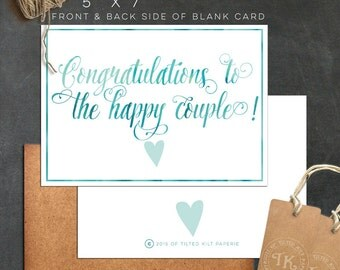Congrats to the happy couple! INSTANT DOWNLOAD 5 x 7 blank card - Wedding card - new couple