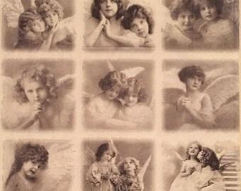 "ONE imported decoupage napkin, Sagen Vintage Angels Group, 13"" x 13"""