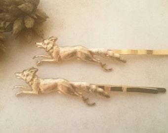 Fox Bobby Pins Gold Fox Hair Pins Animal HairClips Woodland Nature Accesories
